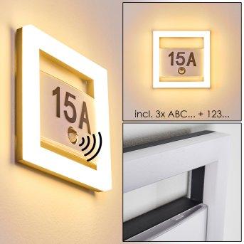 Illuminated house number Louisville LED grey, 1-light source, Motion sensor