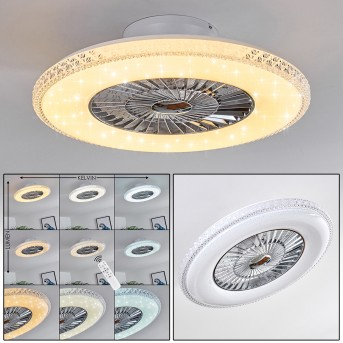 PIACENZA ceiling fan LED chrome, white, 1-light source, Remote control