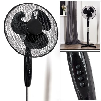 SAUMUR standing fan chrome, black