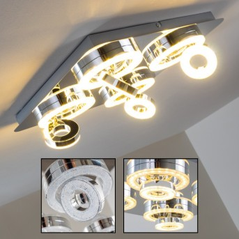 Lakeshore ceiling light LED chrome, 8-light sources