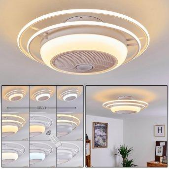 SARASOTA ceiling fan LED white, 3-light sources, Remote control