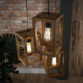 SIDDEBUREN Pendant Light dark wood, 3-light sources