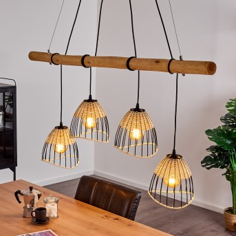 SHALO Pendant Light black, dark wood, 4-light sources