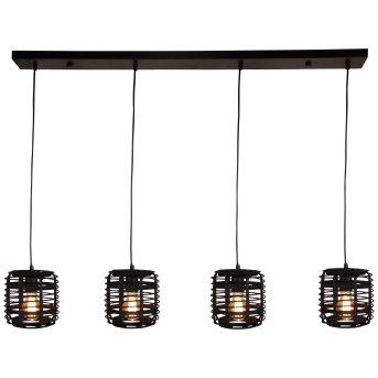 Brilliant CROSSTOWN Pendant Light black, Dark wood, 4-light sources