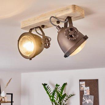 HERFORD Ceiling Light black, brown, Dark wood, 2-light sources