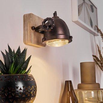 HERFORD Wall Light copper, Dark wood, 1-light source