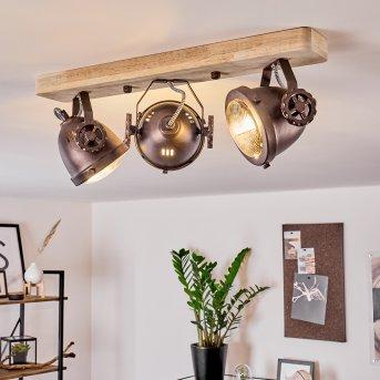 HERFORD Ceiling Light copper, dark wood, 3-light sources