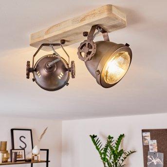 HERFORD Ceiling Light copper, Dark wood, 2-light sources