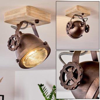 HERFORD Ceiling Light copper, Dark wood, 1-light source