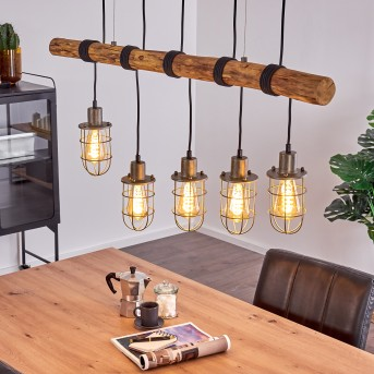 ADAMA Pendant Light black, dark wood, 5-light sources
