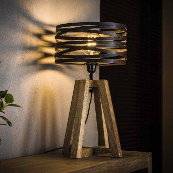 BEILEN Table lamp dark wood, 1-light source