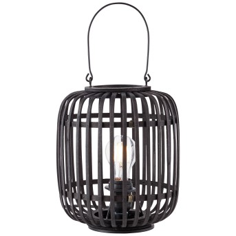 Brilliant WOODROW Table lamp black, Dark wood, 1-light source