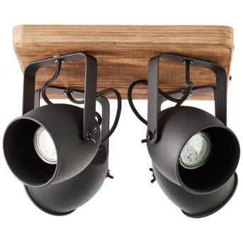 Brilliant CROWTON Ceiling Light black, Dark wood, 4-light sources