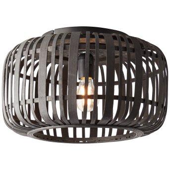 Brilliant WOODROW Ceiling Light black, Dark wood, 1-light source