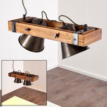 OKSBOL Pendant Light black, Dark wood, 2-light sources