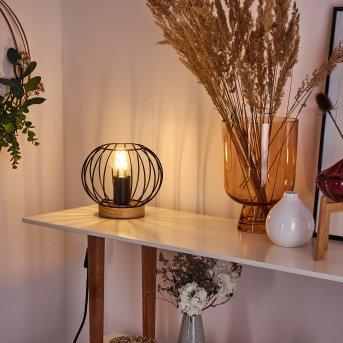 REFRESCO Table lamp black, Dark wood, 1-light source