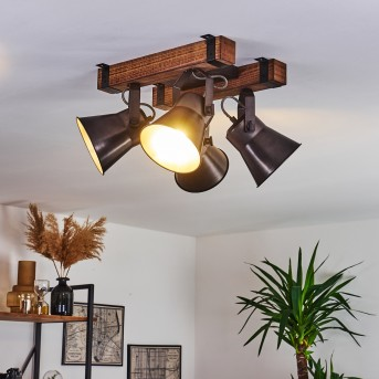 ADUARD Ceiling Light black, Dark wood, 4-light sources