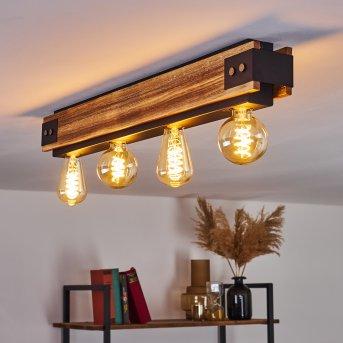 YUMA Ceiling Light black, Dark wood, 4-light sources