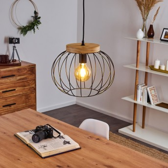 REFRESCO Pendant Light black, dark wood, 1-light source