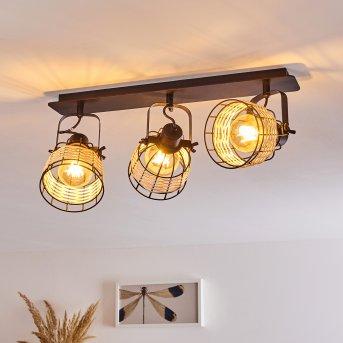 RECINTO Ceiling Light black, Dark wood, 3-light sources