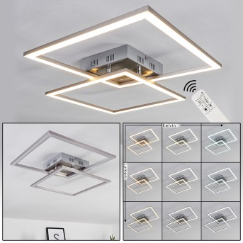 THARA Ceiling Light LED matt nickel, 2-light sources, Remote control