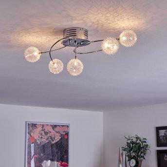 TUCURÚ Ceiling Light LED chrome, 5-light sources