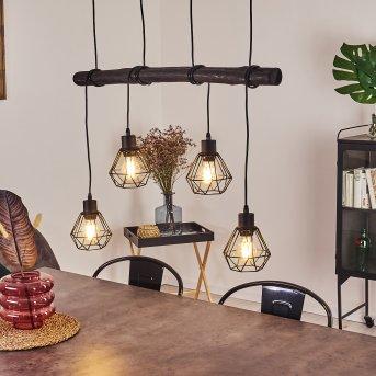 COOL SPRING Pendant Light black, Dark wood, 4-light sources