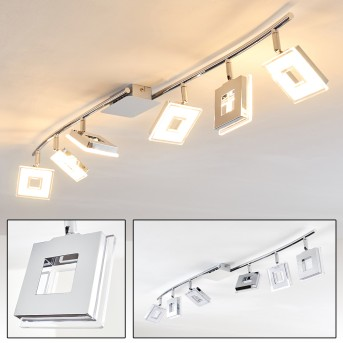 Krakau ceiling spotlight LED chrome, 6-light sources