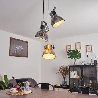 HORA Pendant Light black, Dark wood, 3-light sources