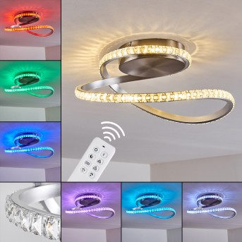 Saginaw Ceiling Light LED matt nickel, 1-light source, Remote control, Colour changer