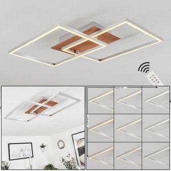 TORRES Ceiling Light LED matt nickel, 2-light sources, Remote control