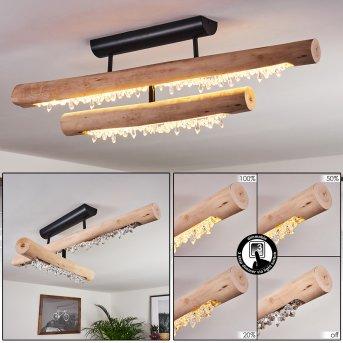 RODECHE Ceiling Light LED black, Light wood, 1-light source