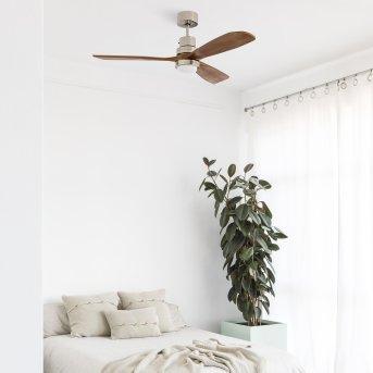 Faro Barcelona LANTAU ceiling fan LED matt nickel, 1-light source, Remote control