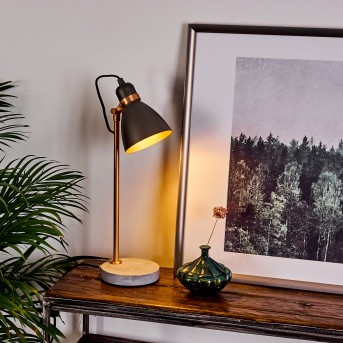 GUINZO Table lamp grey, copper, 1-light source
