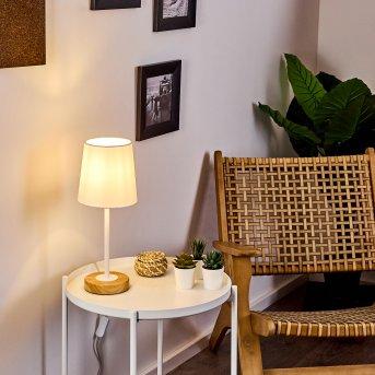LEIRADO Table lamp white, Dark wood, 1-light source