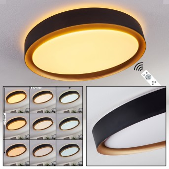 BEADE Ceiling Light LED black, gold, 1-light source, Remote control
