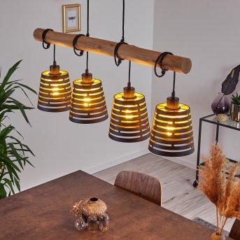 STRATHMORE Pendant Light black, Light wood, 4-light sources