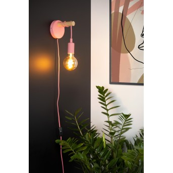 Lucide Pola Wall Light pink, Dark wood, 1-light source