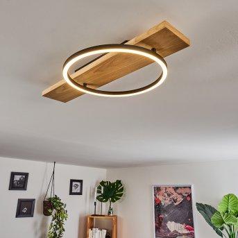 Pompu Ceiling Light LED black, Light wood, 1-light source