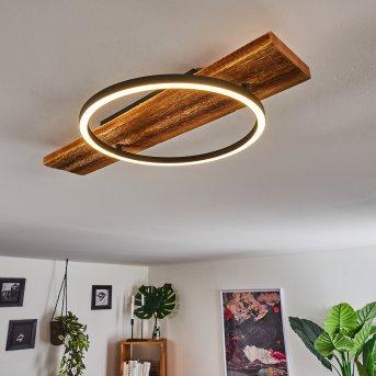 Pompu Ceiling Light LED black, Dark wood, 1-light source
