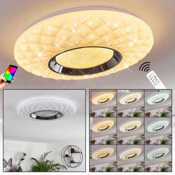 Roseto Ceiling Light LED chrome, white, transparent, clear, 1-light source, Remote control