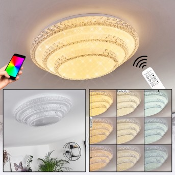 Roseto Ceiling Light LED white, transparent, clear, 1-light source, Remote control