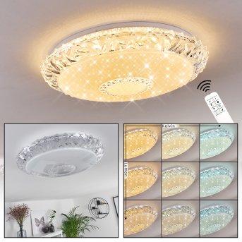 Avoriaz Ceiling Light LED white, transparent, clear, 1-light source, Remote control