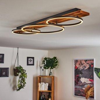 Pompu Ceiling Light LED black, Dark wood, 3-light sources