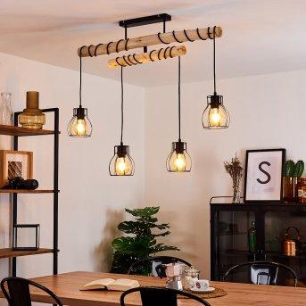 Gondo Ceiling Light black, Light wood, 4-light sources