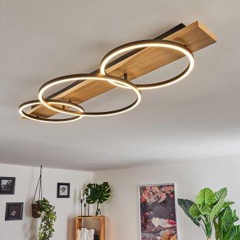 Pompu Ceiling Light LED black, Light wood, 3-light sources