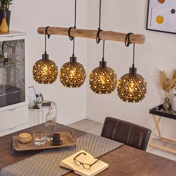 Sunasau Pendant Light black, Dark wood, 4-light sources