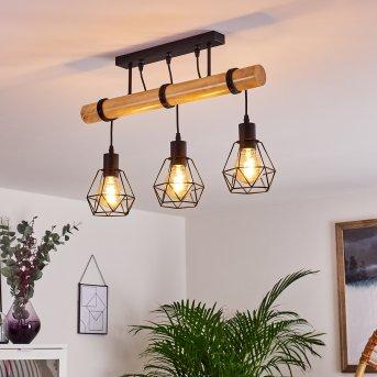Yaak Ceiling Light black, Light wood, 3-light sources