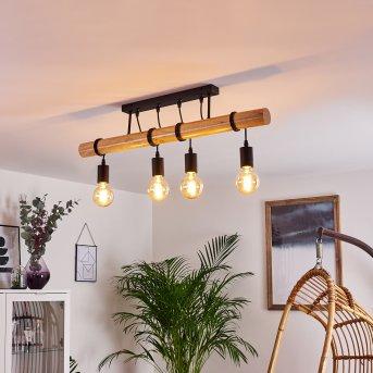 Yaak Ceiling Light black, Light wood, 4-light sources