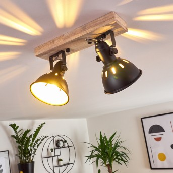 Tina Ceiling Light black, Dark wood, 2-light sources